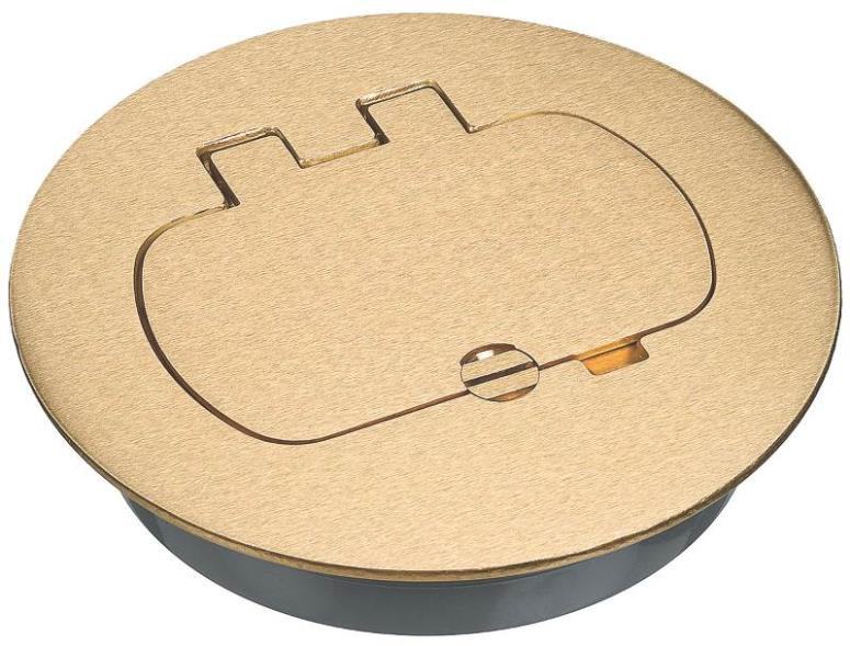 Carlon E97BRR Duplex/GFCI Round Floor Box Cover Kit, Brass