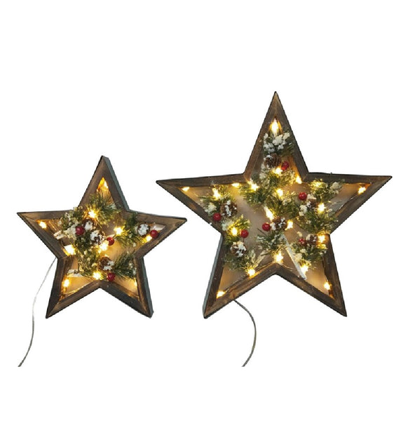 Santas Forest 58404 Star Wood Look Christmas Decorations