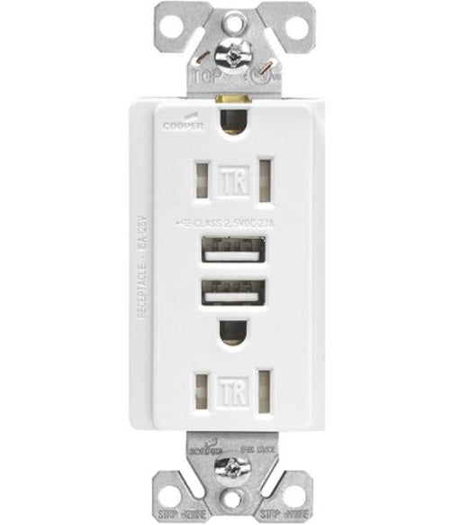 Cooper Wiring TR7755W-K Arrowhart Receptacle Dual USB Port, White