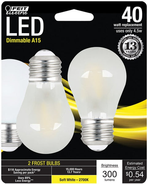Feit Electric BPA1540F827LED2 A15 LED Light Bulb, 4.5 Watts 300 Lumens