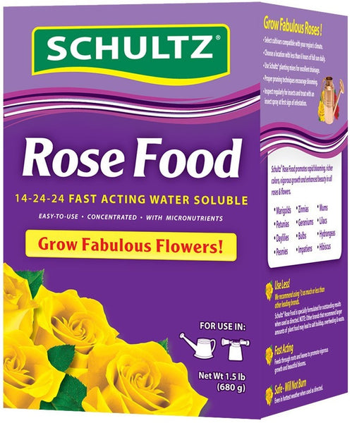 Schultz SPF70220 Fast Acting Water Soluble Rose Food, 14-24-24, 1.5 lbs