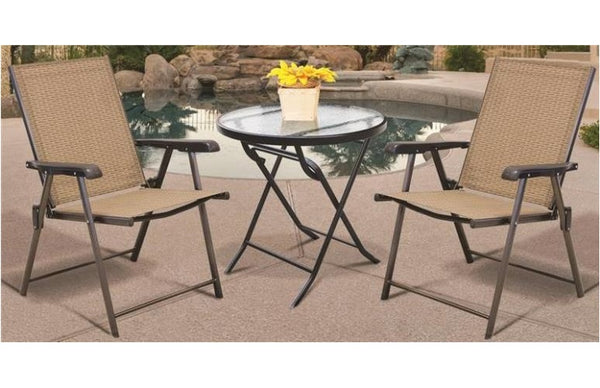Seasonal Trends T5C27KR1J33 Folding Bistro Table, Glass, 27""