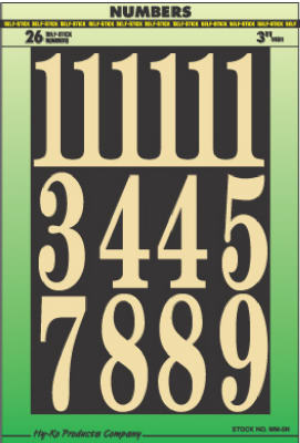 "Hy-Ko MM-5N Embossed Mylar Self-Stick Numbers Set, 3"", Gold On Black"