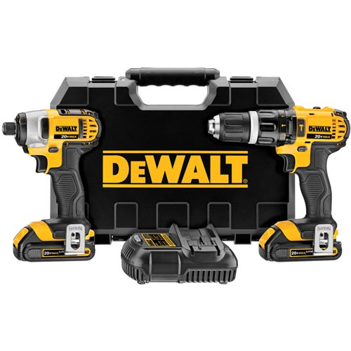 DeWalt DCK285C2  Lithium-Ion Hammer Drill and Impact Combo Kit, 20V