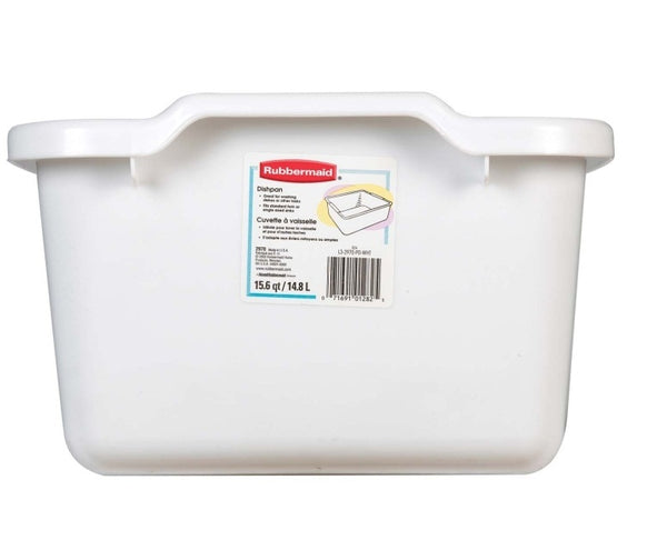 Rubbermaid 2970ARWHT Plastic Microban Antimicrobial Dishpan, White, 15.6 Qt
