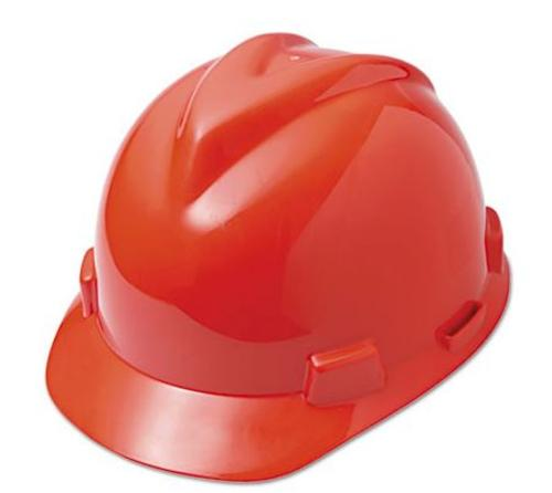 Msa Safety Works V-Gard 475363 Hard Hat With Ratchet, Red, Polyethylene