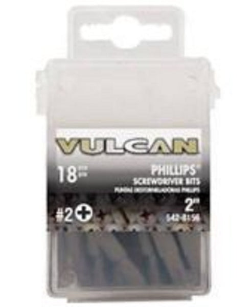 "Vulcan 305041OR Phillips #2 Screwdriver Bit, Hex Shank, 2"", 18-Count"