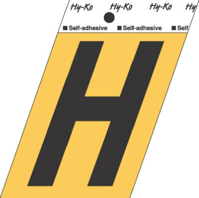 "Hy-Ko GG-25/H Press-On Aluminum Adhesive Letter H Sign, 3-1/2"", Gold/Black"