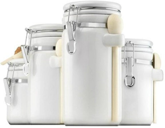 Anchor Hocking 03806WMR 4-Piece Ceramic Canister Set, White