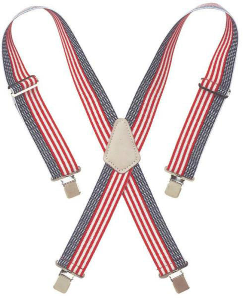 CLC 110USA Heavy-Duty Adjustable Elastic Suspenders, USA Flag Print