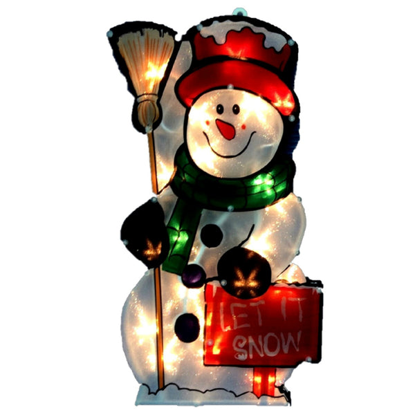 Santas Forest 60325 Let It Snow Christmas Snowman Yard Decoration, 17 Inch