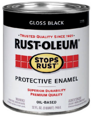Rust-Oleum® 7779-504 Stops Rust® Oil-based Enamels, 1 Qt, Gloss Black