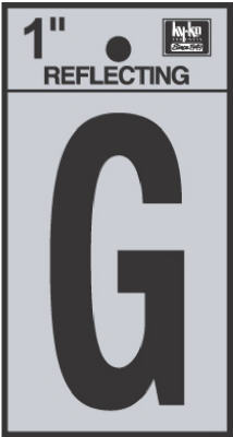 "Hy-Ko RV-15/G Reflective Adhesive Vinyl Letter G Sign, 1"", Black/Silver"