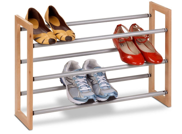 Honey Can Do SHO-01372 3-tier Adjustable Shoe Rack, Wood / Metal