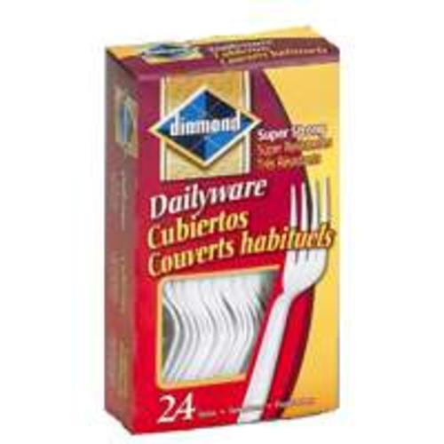 Diamond 00046 Heavy Duty Plastic Forks, 24 Count, White