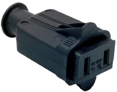 Pass & Seymour 86BKCC10 Rubber Connector, 15A, 125V, Black