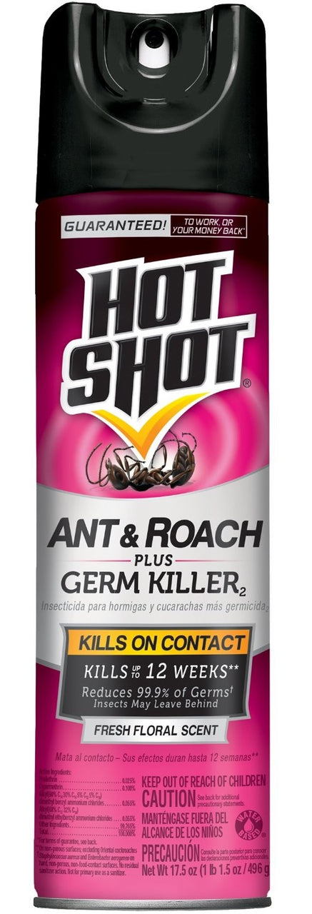 Hot Shot HG-96301 Ant & Roach Plus Germ Killer, 17.5 Oz