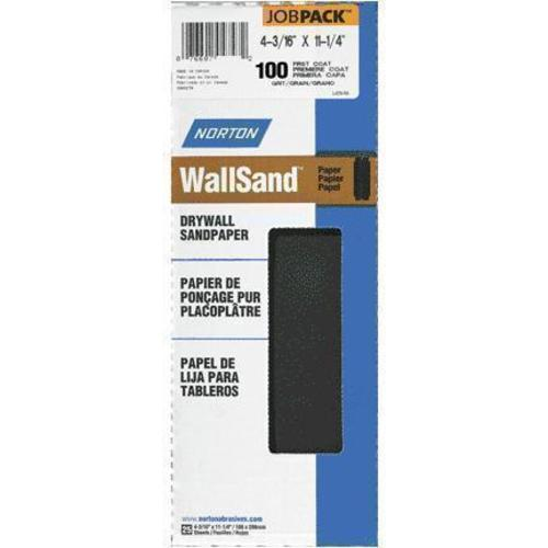 "Norton A412 Wallsand Die-Cut Drywall Sandpaper Paper Sheet  4-3/16"" x 11-1/4"", 100D Grit, Pack/25"