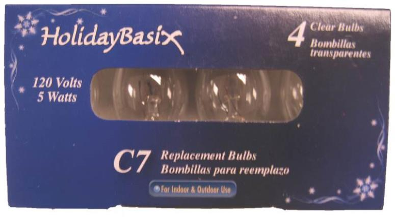 Holiday Basix U00Z302A C7 Replacement Clear Bulbs, 120 Volts, 5 Watts