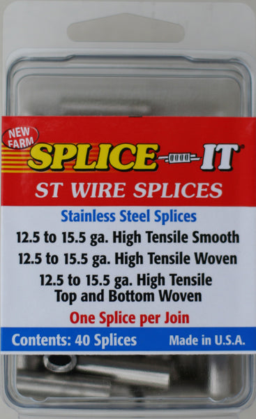 New Farm ST5 Splice-It Stainless Steel Fence Splices, 40-Count