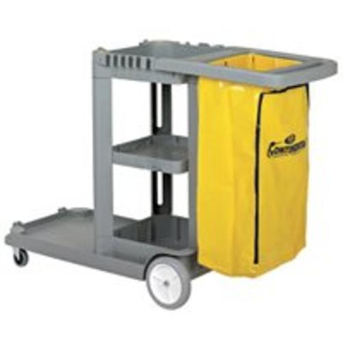 "Continental Commercial 184GY Janitor Cart 55""x30""x38"", Gray"