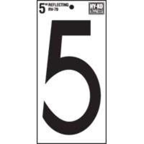 Hy-Ko RV-70/5 Reflective Self-Adhesive Vinyl Number, 5""