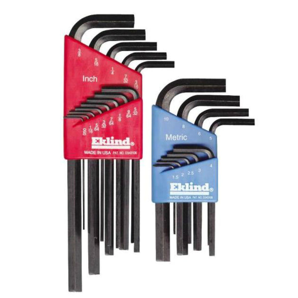 Eklind 10022 Combination Fraction/Metric Hex-L Key Set, 22 Piece