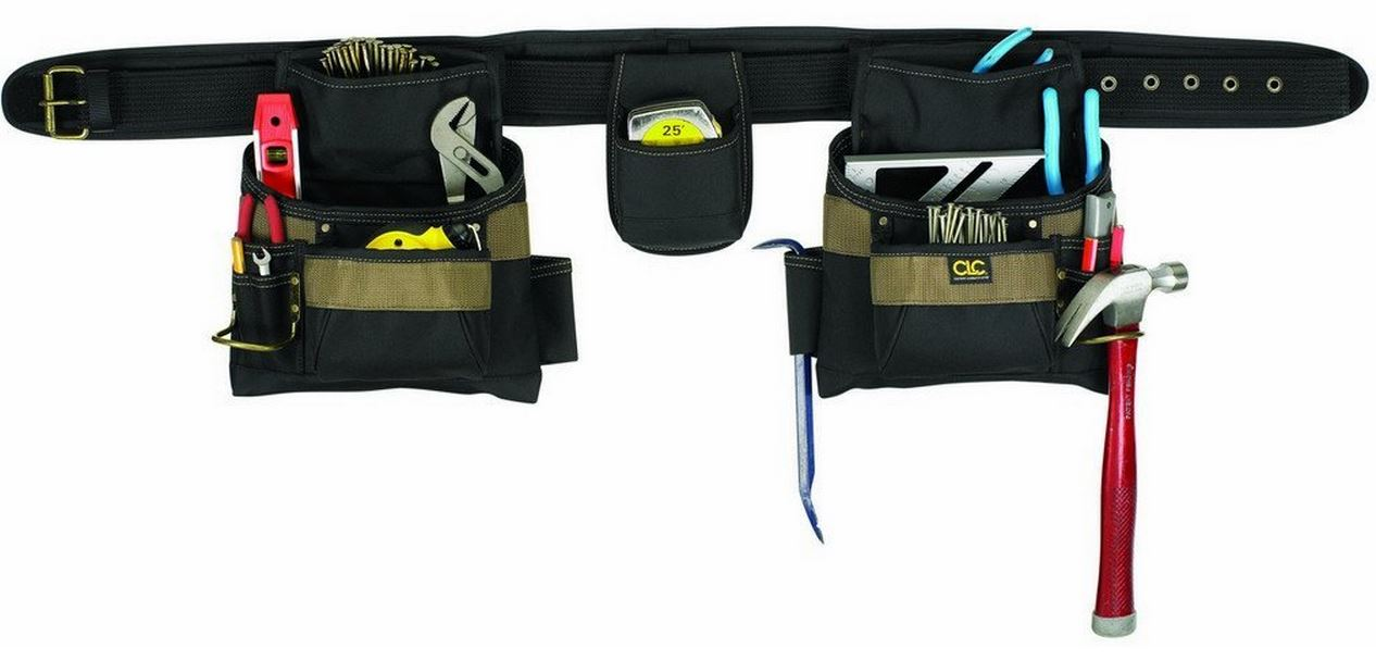 CLC 1604 4 Piece Carpenter's Combo Tool Belt, 17 Pockets, Large