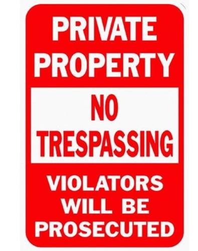 "Hy-Ko HW-45 Highway Sign Priv Property No Trespassing, 12"" X 18"", Aluminum"