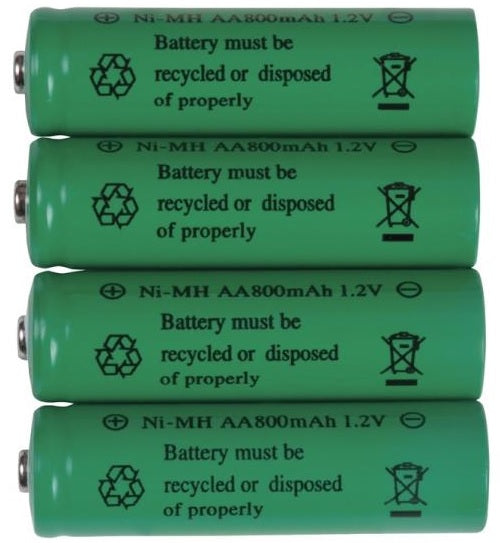 Fusion 16504 Rechargeable Ni-MH AA Batteries, 800mAh, 1.2V, 4-Pack