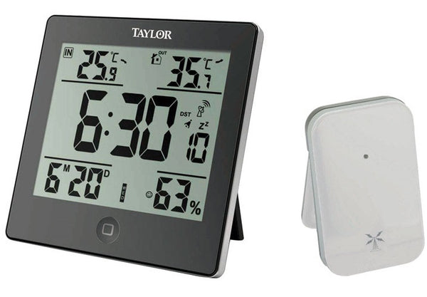 Taylor 1731 Digital Weather Forecaster With Alarm Clock, Black