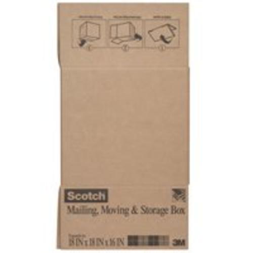"Scotch 8018FB-LRG Folded Shipping & Storage Box, 18"" x 18"" x 16"", Brown"