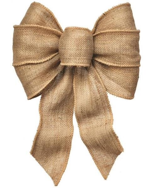 Holiday Trims 6112 7 Loop Burlap Christmas Bow, Natural
