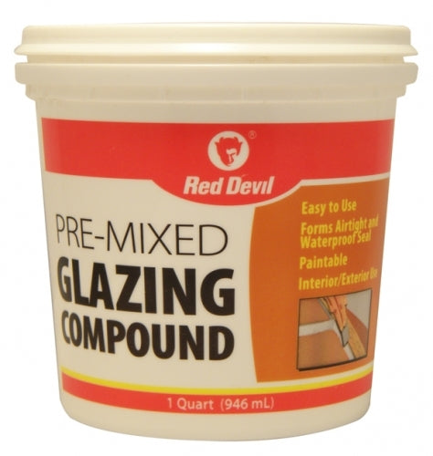 Red Devil 0664 Glazing Compound, White Tube, Quart