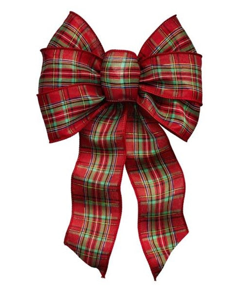 Holiday Trims 6125 Plaid Christmas Bow, 7 Loops