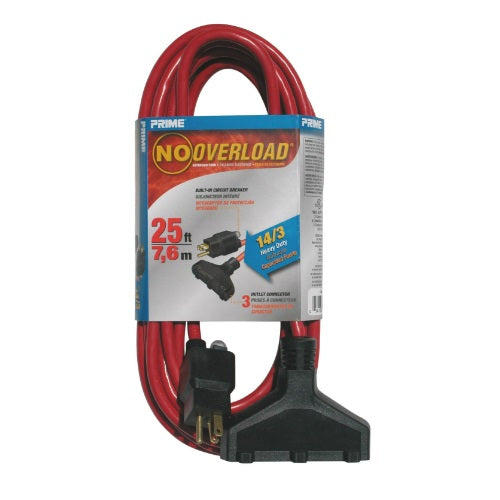 Prime Wire & Cable CB614725 Outdoor Extension Cord With Breaker, 25'