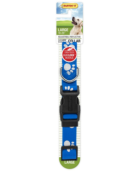 Westminster Pet 7N39243 Ruffin' It Adjustable Paw Print Large Reflective Dog Collar, Nylon, Assorted Color