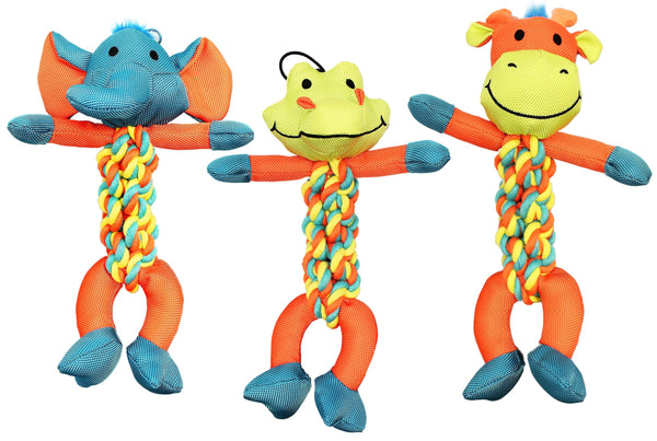 Chomper WB15636 Assorted Braided Rope Character Dog Toy
