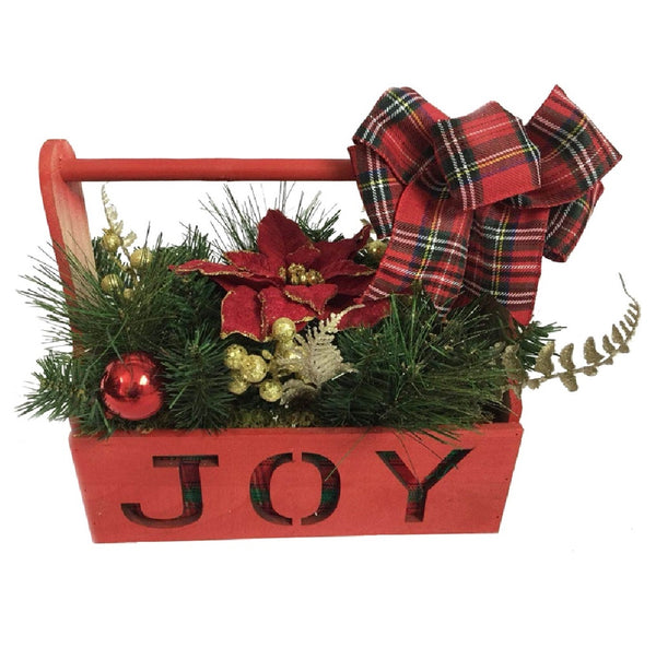 Santas Forest 23401 Christmas  Box Joy, Wood, Red