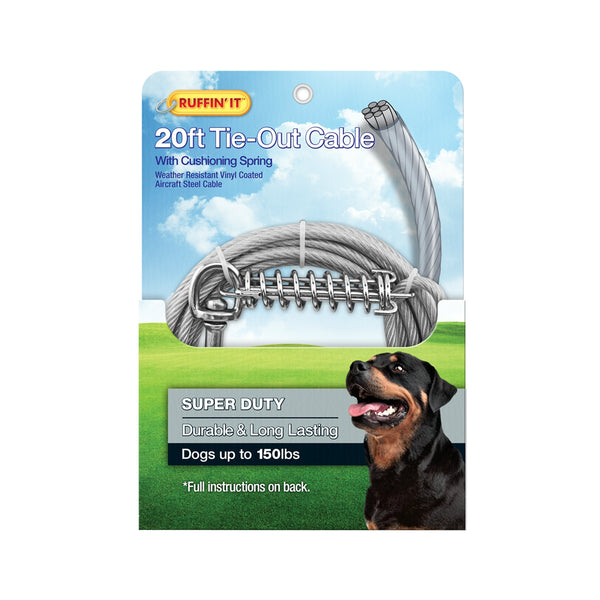 Westminster Pet 7N29620 Ruffin' It Super-Duty Weather-Resistant Tie-Out Cable Cushioning Spring, steel, 20'