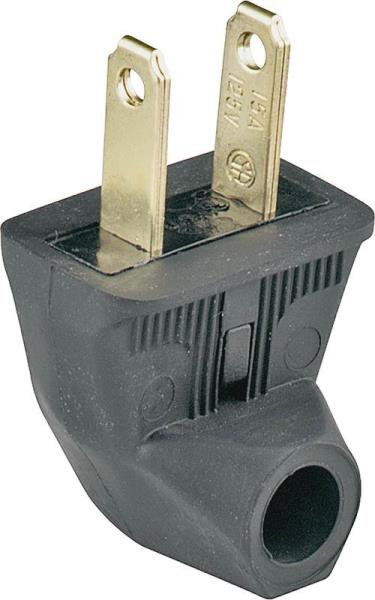 Cooper Wiring BP84BK-SP 2 Wire Flat Angle Plug, Black