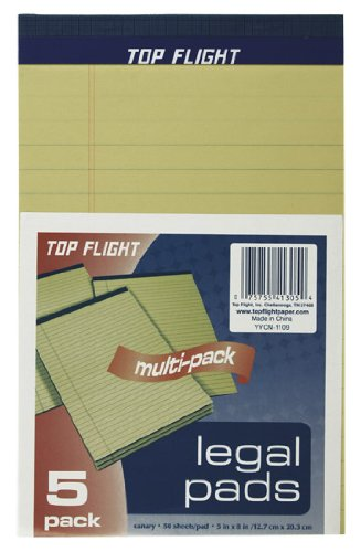 "Top Flight 8105/5 Legal Pad 5""x8"", Yellow"