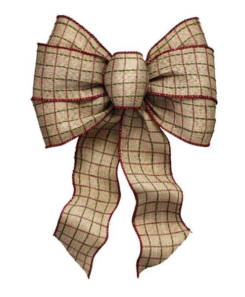 Holiday Trims 6127 Rustic Plaid Christmas Bow, 7 Loops