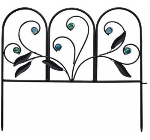Mintcraft W52361 Decorative Leaf Garden Fence, Matte Black