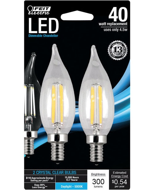 Feit Electric BPCFC40850LED2 Chandelier Flame Tip LED Light Bulb, 4.5 Watts, Clear