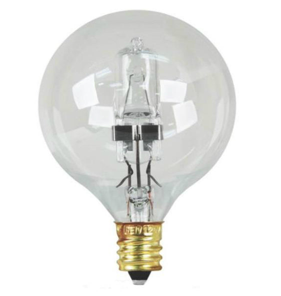 Feit Electric BPQ40G161/2 Energy Saving Halogen Light Bulbs Candelabra Globe, 40 Watts