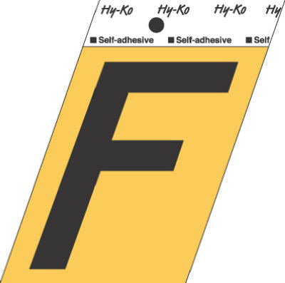 "Hy-Ko GG-25/F Press-On Aluminum Adhesive Letter F Sign, 3-1/2"", Gold/Black"