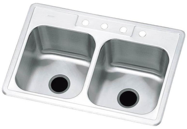 "Sterling Plumbing 11402-4-NA Double basin Kitchen Sink, 33"" x 22"""