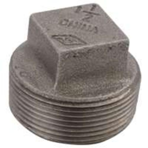 "Worldwide B291 6 Malleable Screwed Plug, 1/8"", Black"