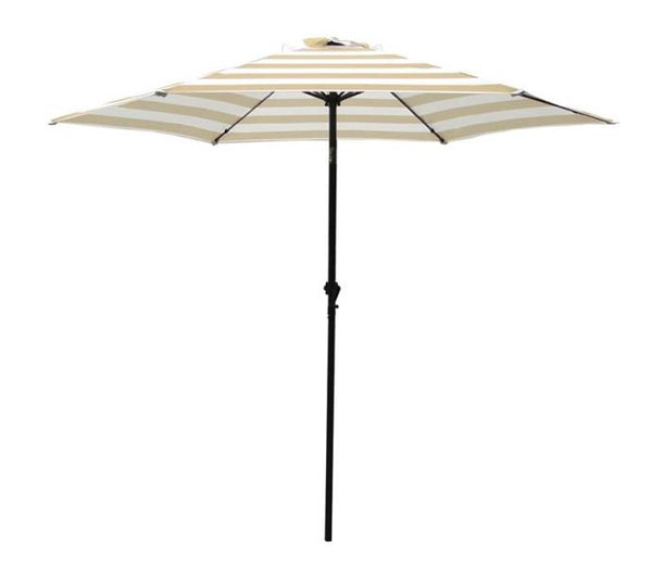Seasonal Trends UM90BKOBD04/WT Market Umbrella, Taupe/White, 9'
